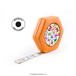 Rollfix Textilmaßband, aufrollbar, zweiseitig 150 cm - HEXAGON MAGNETIC ORANGE