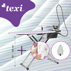 Ironing table with automatic steam generator, iron, steam brush and anti-shine PTFE shoe - TEXI SMART S+B SET