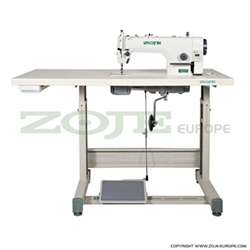Lockstitch machine for heavy materials, with built-in AC Servo motor and control box, with needle positioning - complete sewing machine