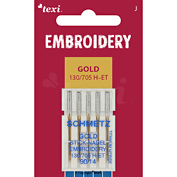 TEXI EMBROIDERY GOLD Sticknadeln 130/705 H-E, 5 Stk., 5x90 - TEXI EMBROIDERY GOLD 130/705 H-ET 5x90