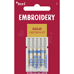 TEXI EMBROIDERY GOLD Sticknadeln 130/705 H-E, 5 Stk., 5x75 - TEXI EMBROIDERY GOLD 130/705 H-ET 5x75