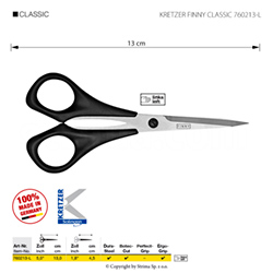 "Scissors for lefthanded, for threads and embroidery, length 5""/13 cm, pointed tips"