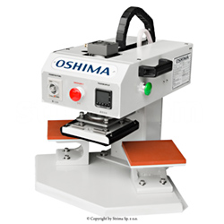 OSHIMA two-station fusing press machine for transfers, surface of both plates 10x10 cm