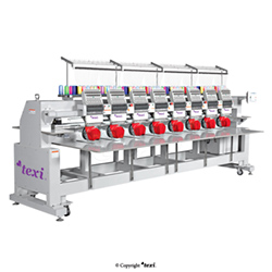 Industrial, eight-head, twelve-needle embroidery machine with an enlarged field of work - TEXI 1208 TS PREMIUM LARGE