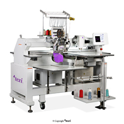 12-needle embroidery machine with a base with accessories for sewing sequins and strings and an additional head with chanille function